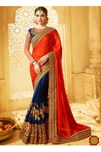 Orange and blue banarasi jacquard and jacquard wedding wear saree