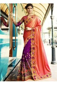 Pink and purple crepe silk and bangalori silk wedding wear saree