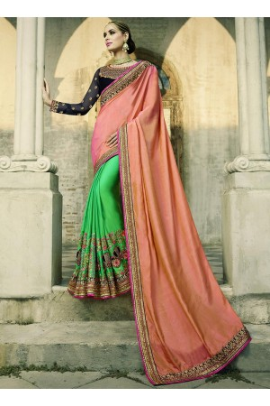 Peach and green silk crepe wedding wear saree