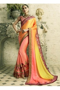 Peach and yellow georgette and silk crepe wedding wear saree