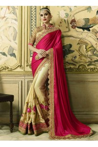 Pink and cream crepe satin and art silk wedding wear saree