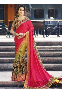 Pink and green bangalori silk crepe silk and velvet wedding wear saree