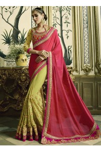 Pink and green silk crepe and satin georgette wedding wear saree