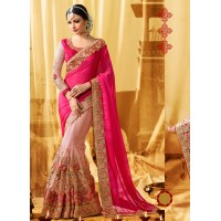 Pink moss georgette and net wedding wear saree