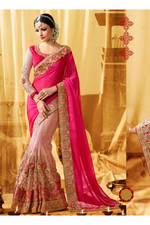 Pink moss georgette and net wedding wear saree