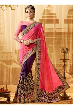 Pink and purple jacquard art silk and jacquard crepe silk wedding wear saree