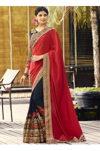 Red and navy blue pure chiffon and georgette wedding wear saree
