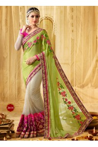 Liril green and pink moss georgette and net wedding wear saree