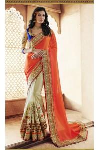 Party-wear-Beige-Orange-3-color-saree