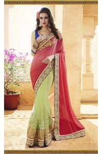 Party-wear-Green-Tomato-Red-color-saree