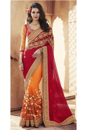 Party-wear-Orange-Red-8-color-saree