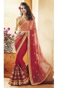 Party-wear-Red-Peach-5-color-saree