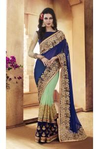 Party-wear-Sea-Green-Blue-color-saree