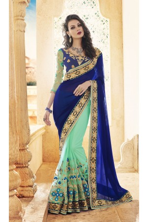 Party-wear-Sea-Green-Blue-9-color-saree