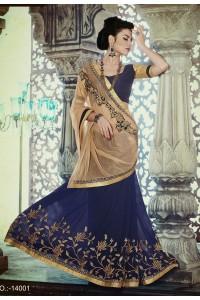 Party-wear-Blue-Chikko-color-saree