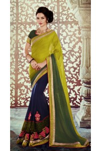 Party-wear-Blue-Green-color-saree
