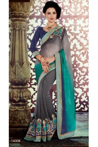 Party-wear-Grey-Blue-color-saree