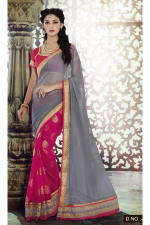 Party-wear-Grey-Pink-4-color-saree