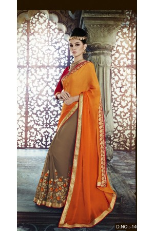 Party-wear-Orange-Brown-color-saree