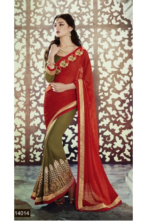 Party-wear-Orange-Mehndi-Green-color-saree