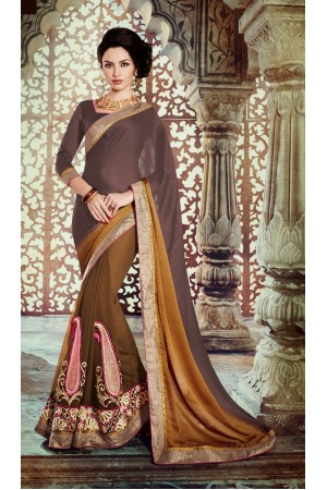 Party-wear-Pine-Green-Brown-color-saree