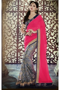 Party-wear-Pink-3-Grey-color-saree