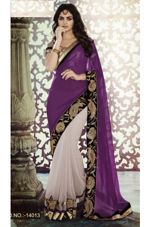 Party-wear-Purple-Powder-Pink-color-saree