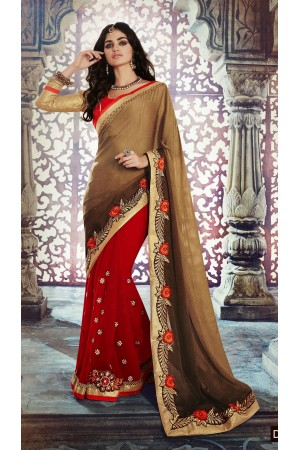 Party-wear-Red-Brown-color-saree