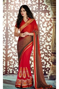 Party-wear-Red-Brown-2-color-saree