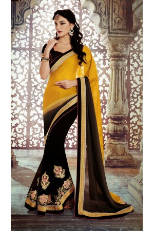 Party-wear-Yellow-Black-color-saree