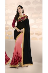 Party-wear-black-pink-color-saree