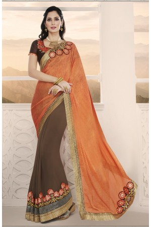 Party-wear-orange-brown-7-color-saree