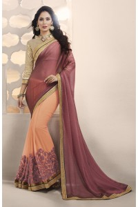 Party-wear-peach-violet-color-saree