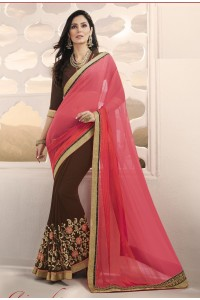 Party-wear-pink-coffee-brown-color-saree