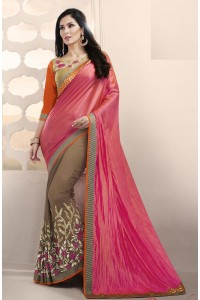 Party-wear-pink-orange-brown-color-saree