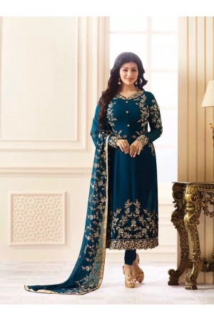 Ayesha Takia cyan blue color georgette party wear salwar kameez