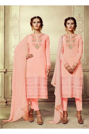 Peach georgette straight cut salwar kameez