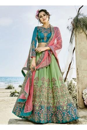 Mint green blue and peach silk wedding lehenga