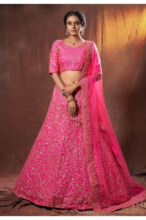Pink art silk embroidered lehenga choli 6312