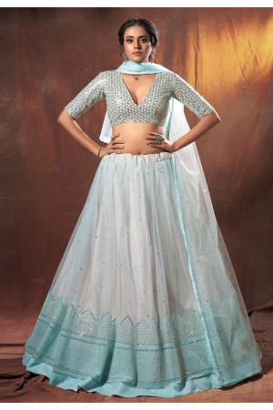 Sky blue net sequins work lehenga choli 6301