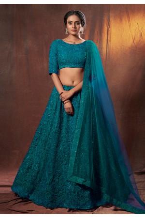 Teal net sequins work lehenga choli 6309