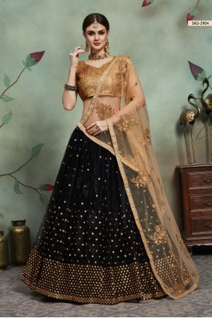Black color net sequins wedding lehenga