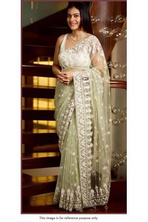 Bollywood Kajol Inspired off white net saree
