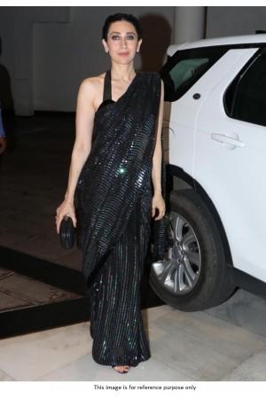 Bollywood Karishma Kapoor Inspired black sequins saree
