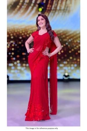 Bollywood Madhuri Dixit Georgette ruffle saree