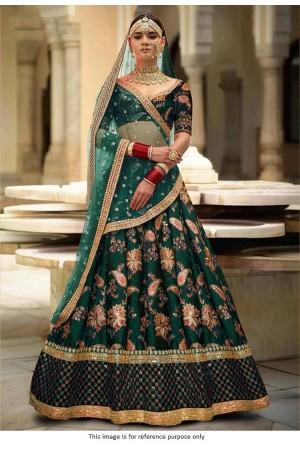 Bollywood sabyasachi Inspired Emerald green Tafetta silk lehenga