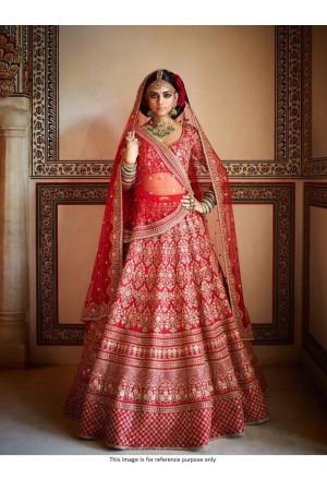 Bollywood Sabyasachi Inspired red silk wedding lehenga choli