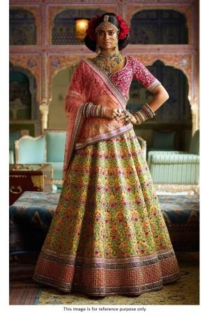 Bollywood sabyasachi Inspired Yellow Mulberry silk lehenga choli