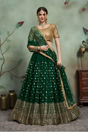 Dark green net sequins wedding lehenga