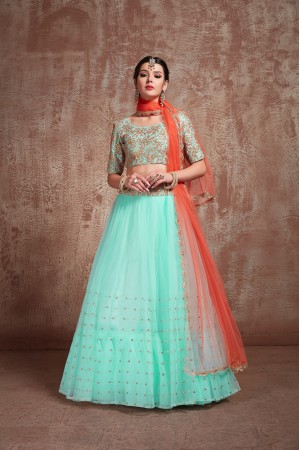 Blue color net sequins wedding lehenga